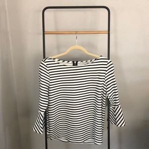 Clean and crisp Black and white striped top